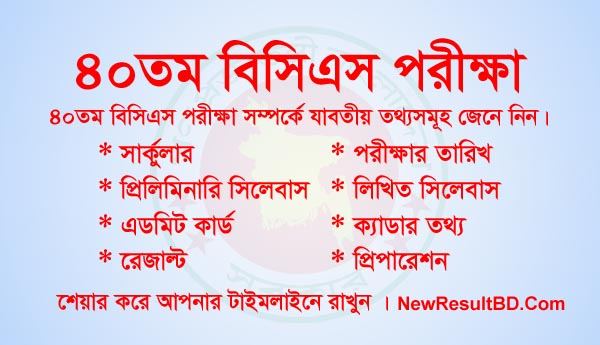 40th BCS Circular, Exam Result (৪০তম বিসিএস