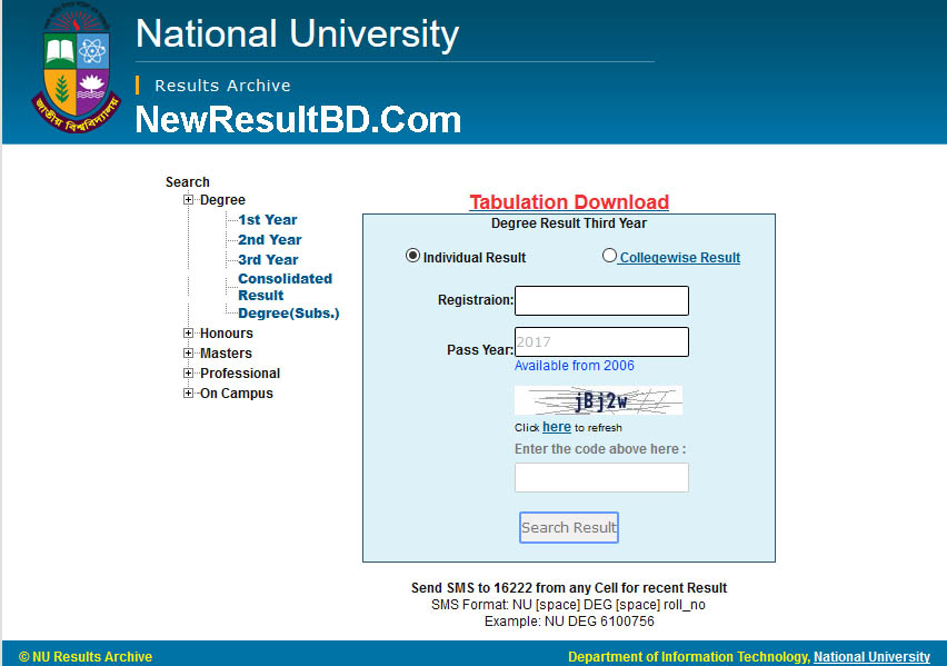 National University Degree Option To Get Result, Degree First, Second, Third Year Exam Result Download, Marksheet, NU Results 1st Year, 2nd Year, 3rd Year 2019