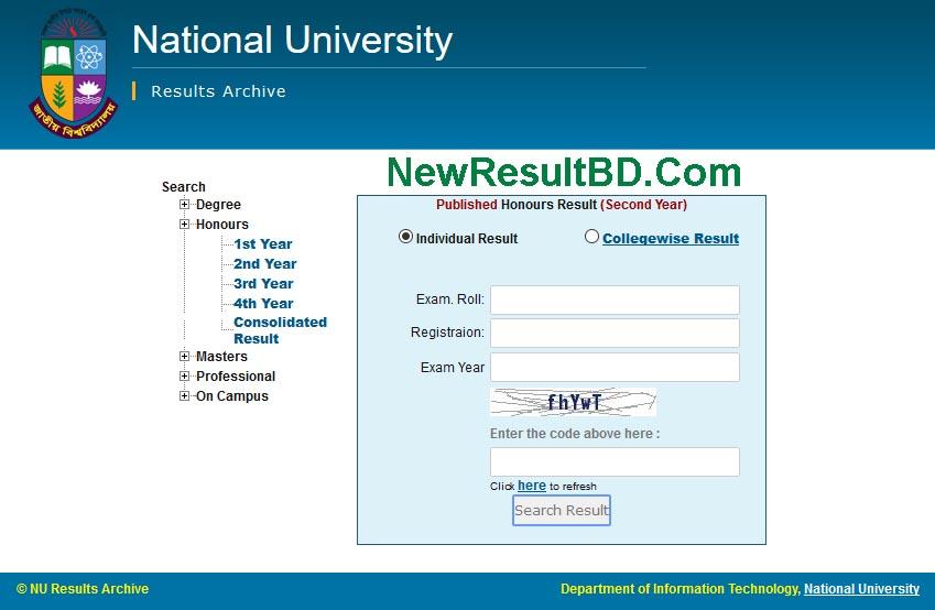 Honours 3rd Exam Year Result For National University