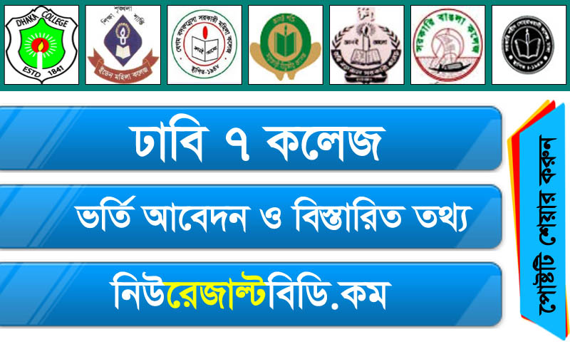 DU 7 College Admission 2019 Circuler Download, Application Online, Minimum GPA, Marks Distrubitions, Dhaka University Seven Colleges Honours Admission 2019