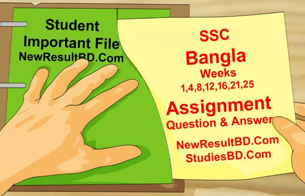 Class 10 SSC Bangla 1st Week Assignment 2022 Answer