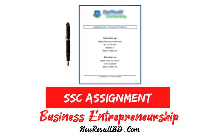 SSC Business Entrepreneurship Assignment