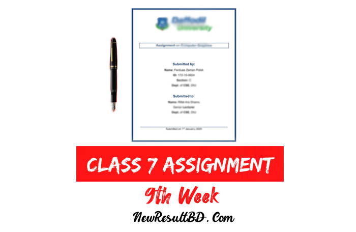 9th Week Assignment Of Class 7