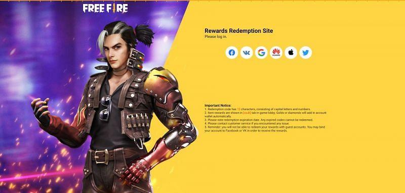 Free Fire redeem code redemption process step 1